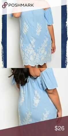 """New Plus Embroidered off shoulder tunic dress Gorgeous new plus blue and white dress. Has elastic on top and arms to keep from falling. Scalloped detail on bottom hem. Embroidered floral white design. Slimming, true to size. 30"""" top to bottom. Blue Belle Dresses Midi"""