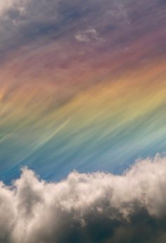 Rainbow colors in the clouds