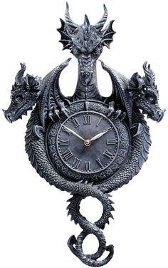 Design Toscano Past, Present, Future Sculptural Dragon Wall Clock   Wayfair