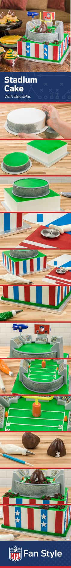 If you can't make it to the stadium, this Stadium Cake recipe is perhaps the next best thing. Decorate this dessert with piping, fondant, and accessories from DecoPac and you're ready to one-up all the other fans at your next Homegate. #NFLFanStyle #Contest