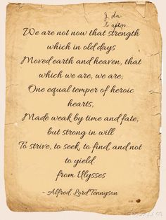 A powerful message about life and time in ulysses by alfred lord tennyson