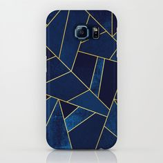 Blue stone with gold lines iPhone & iPod Case