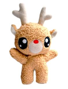 Fluse: Rudolph The Red Nosed Reindeer Kawaii Plush Stuffed Doll organic cotton von Fluse123 auf Etsy