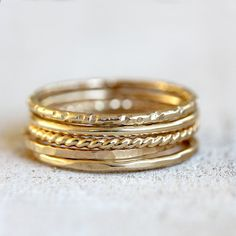 Solid 14k gold stacking rings - large tall stack of 5 rings