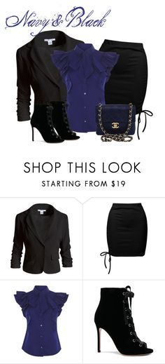 """""""Navy & Black"""" by raven-writer on Polyvore featuring Sans Souci, Gianvito Rossi and Chanel"""