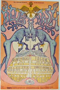(BG 128) 1968 Electric Flag / Blue Cheer / Buddy Guy / Ike & Tina Turner / Freddy King at the Fillmore. Art by Lee Conklin.