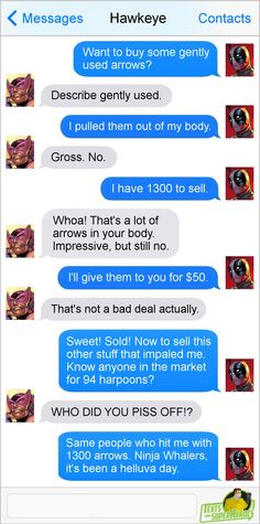 "Deadpool, the merc with a business plan, attempts to sell ""gently used arrows"" to Hawkeye… along with 94 harpoons, which he got from ninja whalers who attempted to murder him. Who…"