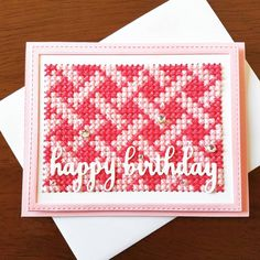 Finishing up a card an hour before I need it for my friend who loves pink. #memoryboxco for the sentiment, #papersmooches #crosstitch