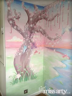 1000 images about girls room murals on pinterest wall for Enchanted forest bedroom wall mural