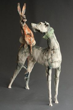 Dogs in Art at the StockBridge Gallery - Hare of the Dog A Ceramic Sculpture by Ostinelli