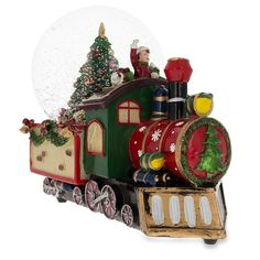"""8.3"""" (L) Train With Cheerful Boys And Christmas Tree Full Of Gifts Music Box Snow Globe"""