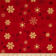 From Fabri-Quilt, this cotton print is perfect for quilting, apparel and home decor accents.  Colors include charcoal, shades of red and metallic gold.
