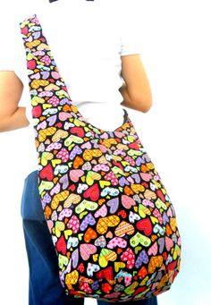 Shoulder Bag Bohemian Bag Heart Multicolor Bag Messenger Bag Hippie Hobo Crossbody Bag Boho Purse Sling Thai art Gift Bag by Avivahandmade on Etsy