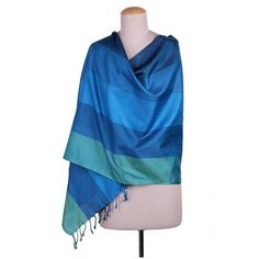 NOVICA 100% Silk Woven Shawl in Green and Blue Stripe Pattern (2.290 RUB) ❤ liked on Polyvore featuring accessories, scarves, blue, clothing & accessories, shawls, blue shawl, green scarves, novica, woven scarves and woven shawl