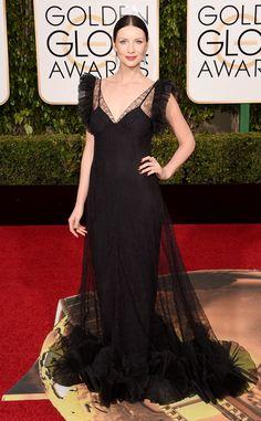 Caitriona Balfe from 2016 Golden Globes Red Carpet Arrivals  In Alexander McQueen