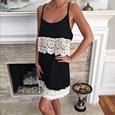 Gorgeous! Black and lace cross back sundress! So fun to wear- pretty, delicate lace in a figure flattering two tier dress with criss cross back! LAST MEDIUM! Dresses