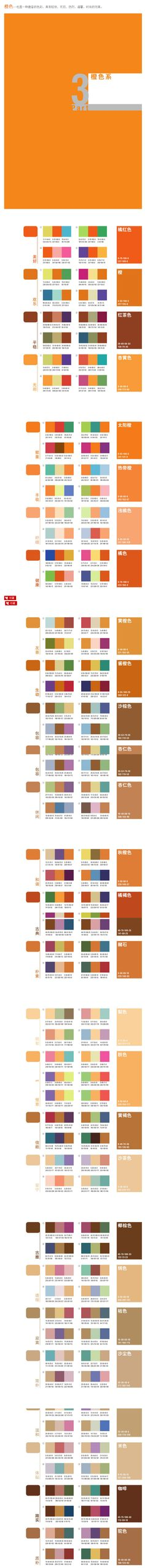 经典配色方案 - 橙色 #色彩#
