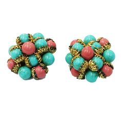 VTG EUROPEAN TURQ & CORAL COLOR GLASS CLUSTER EARRINGS W BRASS BRAIDING #Unbranded #Cluster