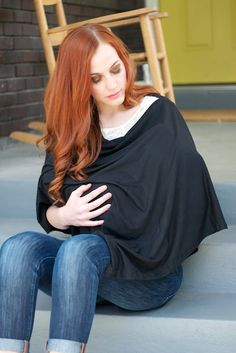I love the look of these!  A VERY easy tutorial on a modern looking nursing shawl. It covers your front AND your back! Plus, it looks like something to wear instead of a giant bib. (The instructions look easy, too!)