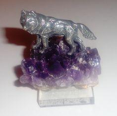 Amethyst Crystal & Pewter Lone Wolf