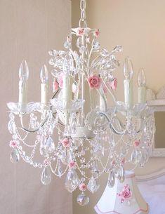 A Vintage Room | 6-Light Antique White Crystal Chandelier with Pink Porcelain Roses