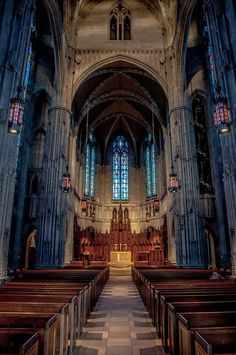 Heinz Chapel, Pittsburgh PA.  Go for a free chamber concert - stay to read the stained glass windows.