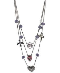 Betsey Johnson Hematite-Tone Pink Skull and Heart Illusion Necklace