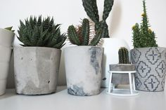 DIY Cement Planters with Aztec Print