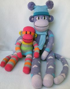 Two sock monkies by Sunset Creations