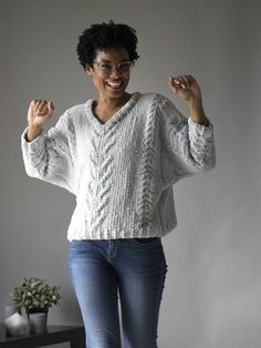 It's Free Pattern Friday! Today, the Lounge Pullover in Bella Chenille (pattern link). First off, a big shout-out to our model Darian. When we have a model that's this great to work with (and she really was great), we're always happy that we can have something comfy and fun for them to wear. The Lounge…