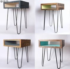 Image result for side table with drawer and hairpin legs
