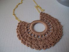 Doily Necklace Beige Vintage Crocheting  $25.00 via Calcedonia - Bonanza