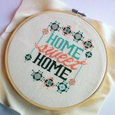Funny Cross Stitch KIT- Modern Home sweet home ** New color ( Fresh Color ) add to this great modern pattern, take a try >> http://etsy.me/1Z5dWEs
