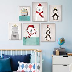 Modern Nordic Kawaii Animals Bear Hippo Penguins Poster Print Nursery Wall Art…