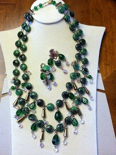 Egyptian Revival Emerald Green Art Glass & AB by SweetBettysBling, $138.00
