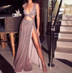 Evie Cut-Front Maxi Gown
