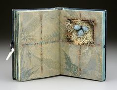 "Sharon McCartney, In Quest of Treasure, Mixed Media Altered Vintage Book with Niche, 6""H x 4.25""W"