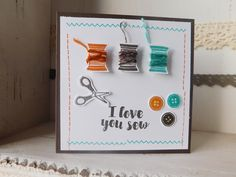 Simple Love you card made with the I Love You Sew stamp set from Stampin Up for the Global Design Project Colour Challenge 029