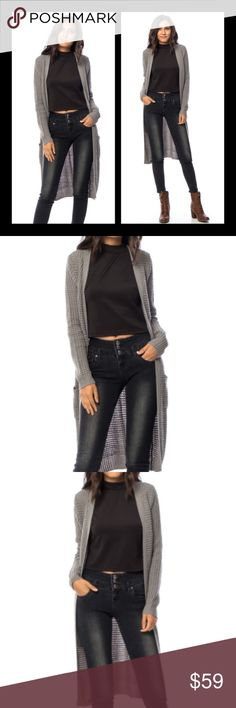 Gray Open Knit Long Cardigan Gray open Knit Long cardigan with pockets.  100% acrylic. Sweaters Cardigans