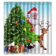 Christmas Tree Reindeer Custom Waterproof Shower Curtain Bathroom Curtains 66x72 inches >>> See this great product. Note:It is Affiliate Link to Amazon.