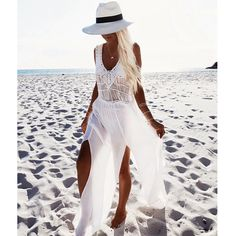 New White Beach Dress Cover Up Dress Beach Hand Knit Swimwear Women Tunic Beachwear Femme Chiffon Swimsuit Long White Beach Dress, White Beach Cover Up, Dress Beach, Beach Covers, Beach Skirt, Long Beach, Beach Cover Up Skirt, Beach Kaftan, Crochet Beach Dress