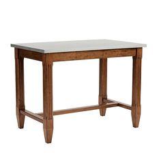 Messina Counter Table with Zinc top Marble Top Kitchen Island, Kitchen Reno, Zinc Sheet, Kitchen Work Tables, Oak Avenue, Counter Height Table, Messina, Wooden Kitchen, Ballard Designs