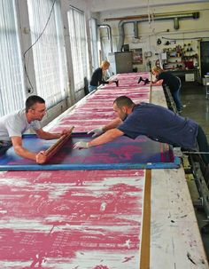We just love images like this, showing the cooperation and effort put into creating some of the beautiful fabrics we all take for granted. #screenprinting