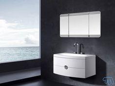 Meuble salle de bain Blanc laqué Miroir triptyque LOFOTEN