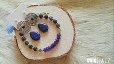 Handmade Jade bracelet & Lapis earrings by UNIQ|JWLZ. www.facebook.com/uniq-jwlz