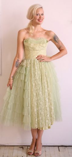 1950s Vintage // Light as a Feather Formal Dress // Xs-Small. $138.00, via Etsy.