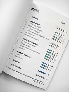 Graphic design. Table of content, index,  pagination,