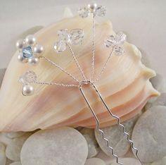 Pearl Swarovski Crystal Bridal Hair Pin Wedding by TopsailWinds, $22.00