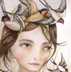 Mulher com passarinhos representando as mulheres depois dos 40