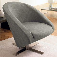 Cross base swivelling armchair, Mocha, Dwell